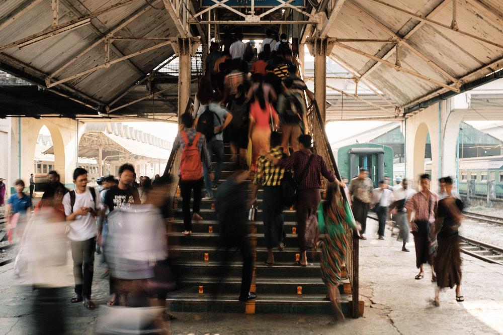 Circular Line Passengers - Yangon Station