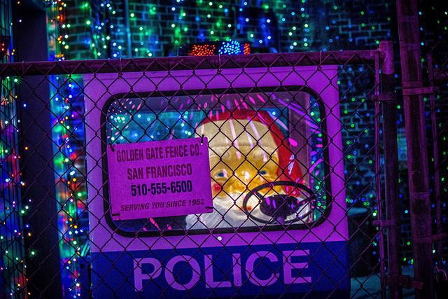 Santa in Police Cart