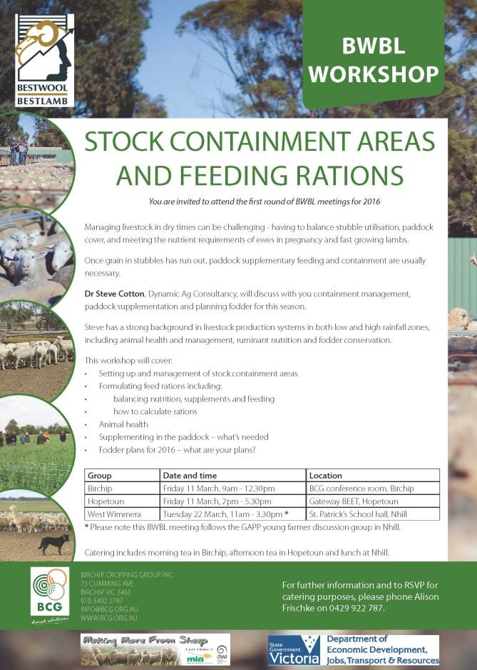 BWBL stock containment and feeding rations