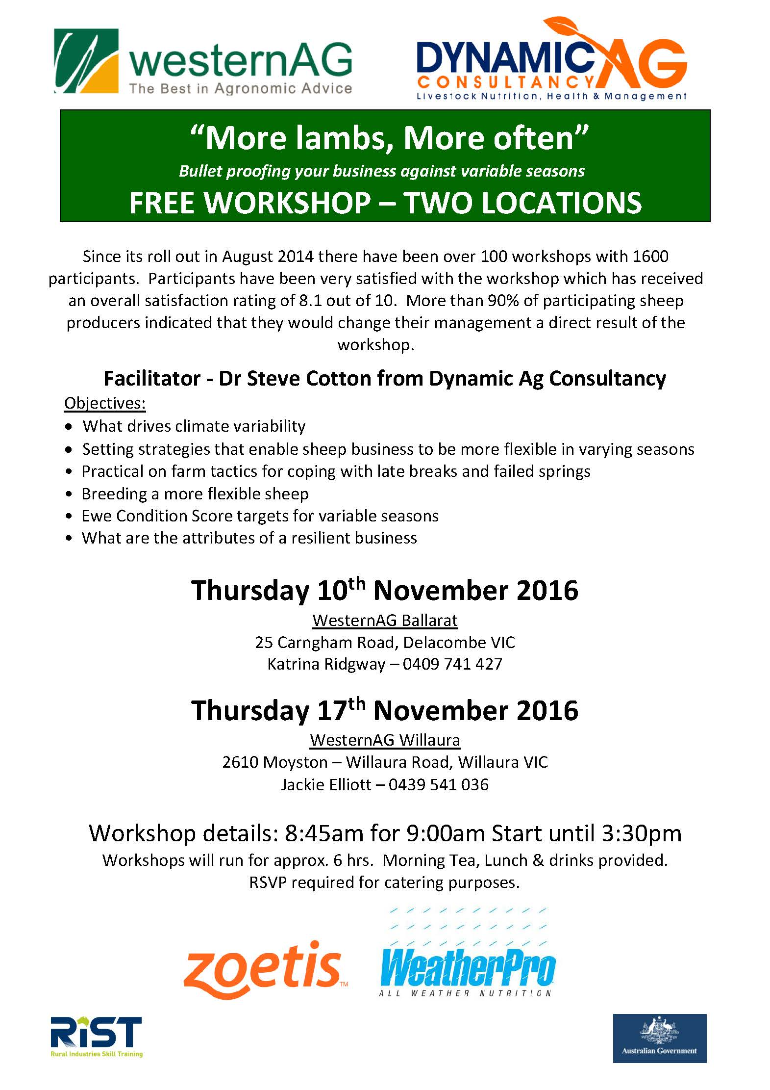 Upcoming More Lambs More Often workshop - Dynamic Ag