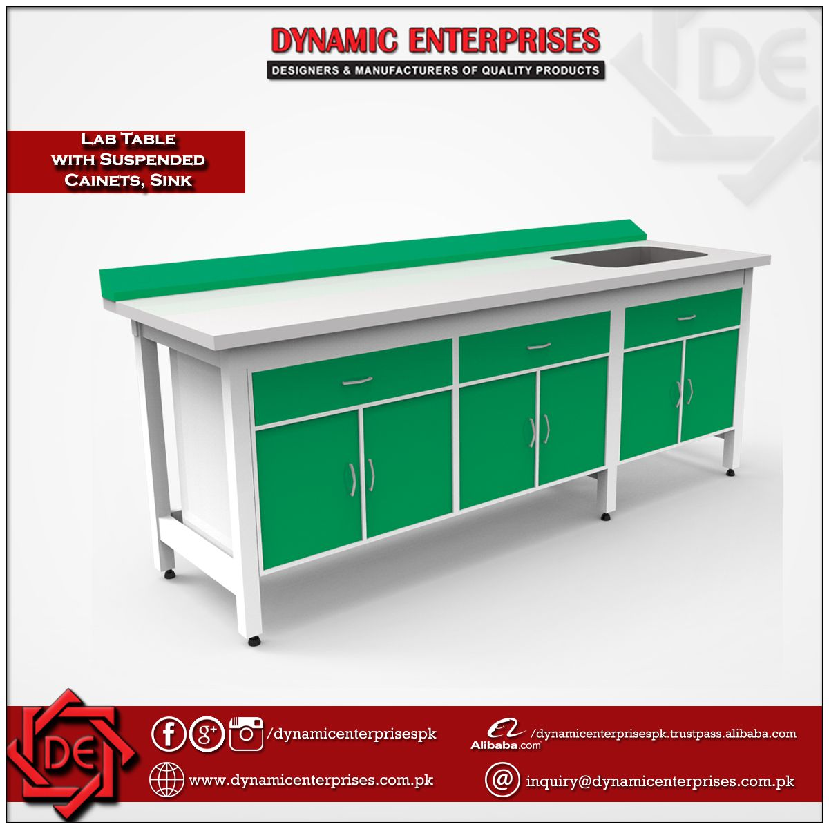 Laboratory Table with Suspended Cabinets, PP Sink & Electrical Panel