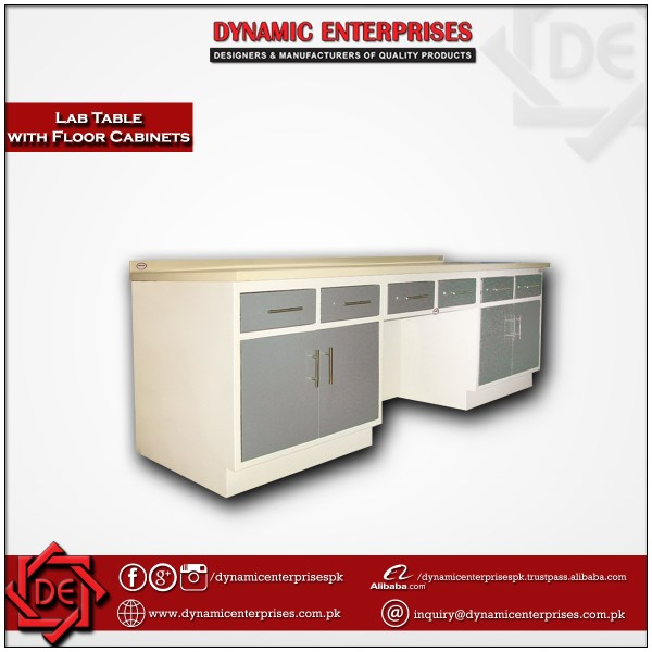 Lab Table with Floor Standing Cabinets