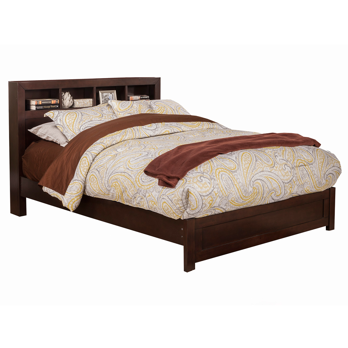 Solana Eastern King Platform Bed W Bookcase Headboard In Cappuccino Finish By Alpine Furniture