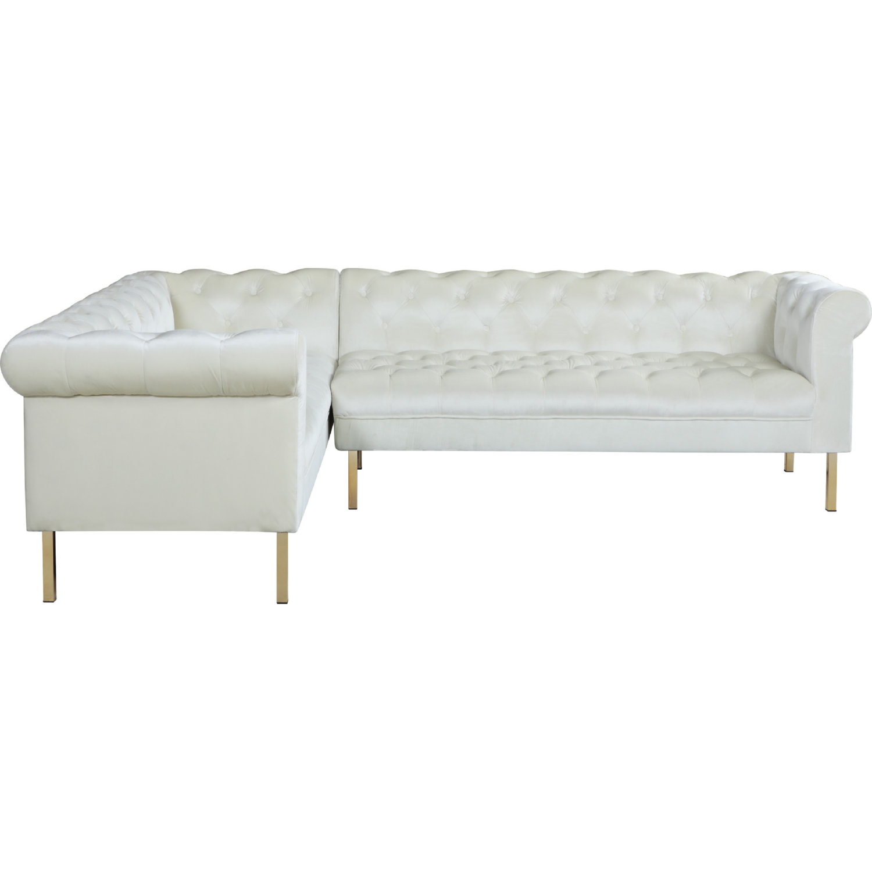 Chic Iconic Fsa9205 Dr Giovanni Left Sectional Sofa In Tufted Beige Velvet On Gold Legs