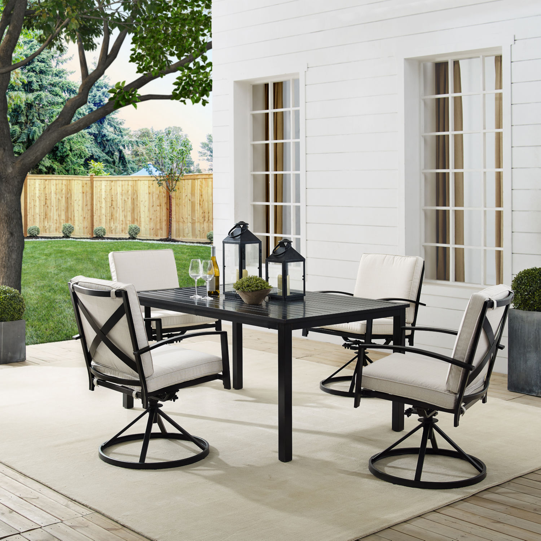crosley ko60021bz ol kaplan 5 piece outdoor table 4 swivel chairs dining set in bronze oatmeal