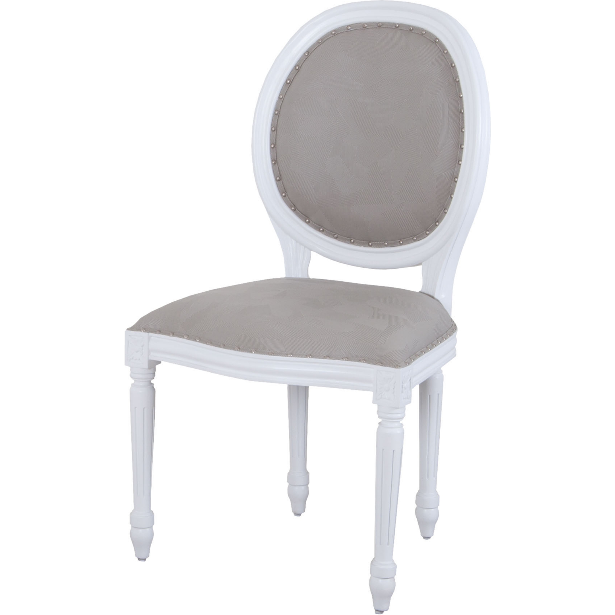 Sterling Industries 7011 1109 Viola Round Back Dining Chair In White W Grey Fabric