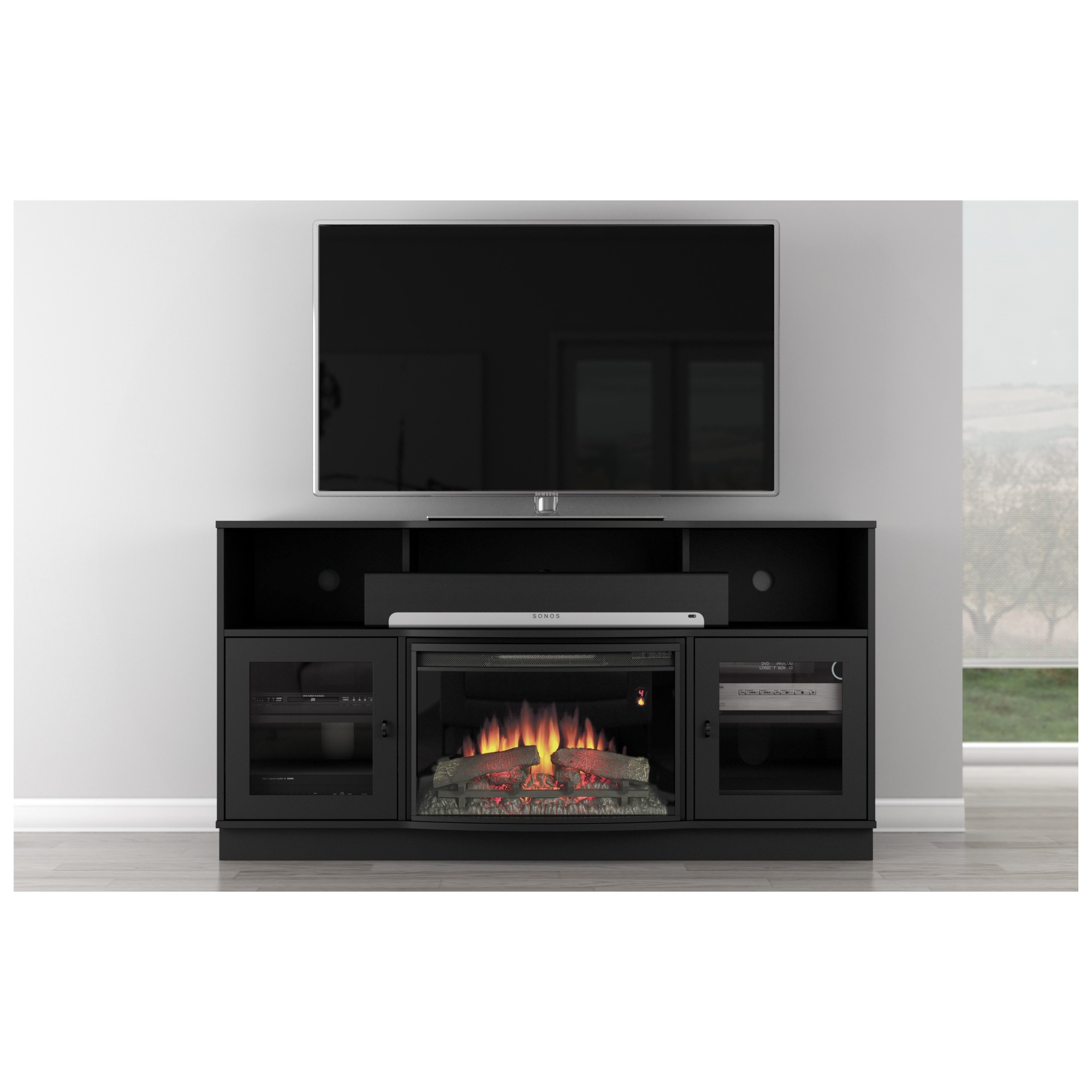 Furnitech FT64CF B FT64CF B 66 TV Stand Contemporary W