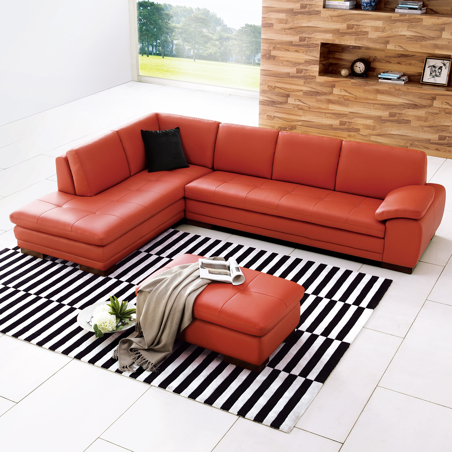 jm furniture 175443111 lhfc pk capri 625 italian leather sectional pumpkin w left facing chaise