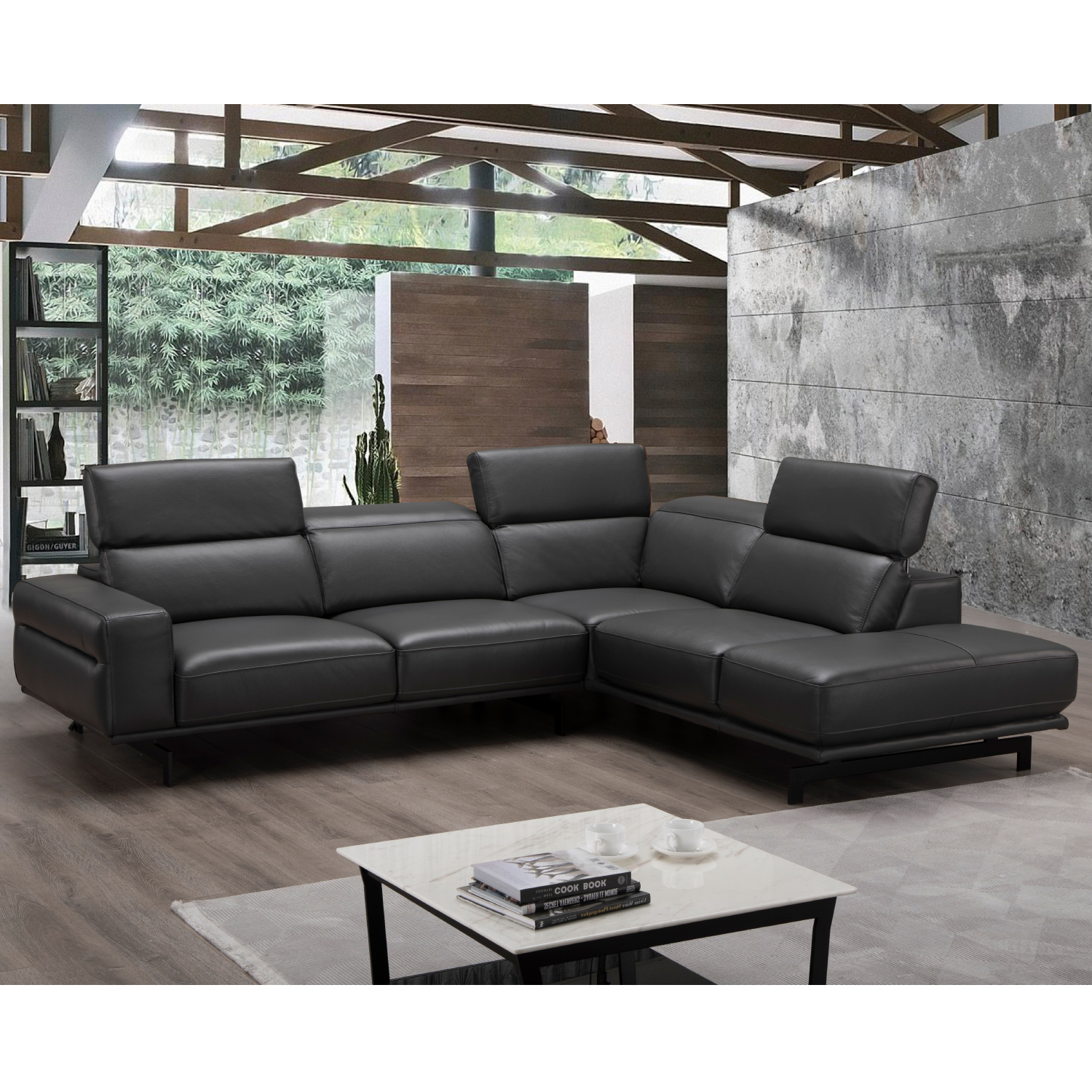 Davenport Sectional Sofa W Right Facing Chaise In Slate Grey Top Grain Leather By J And M Furniture