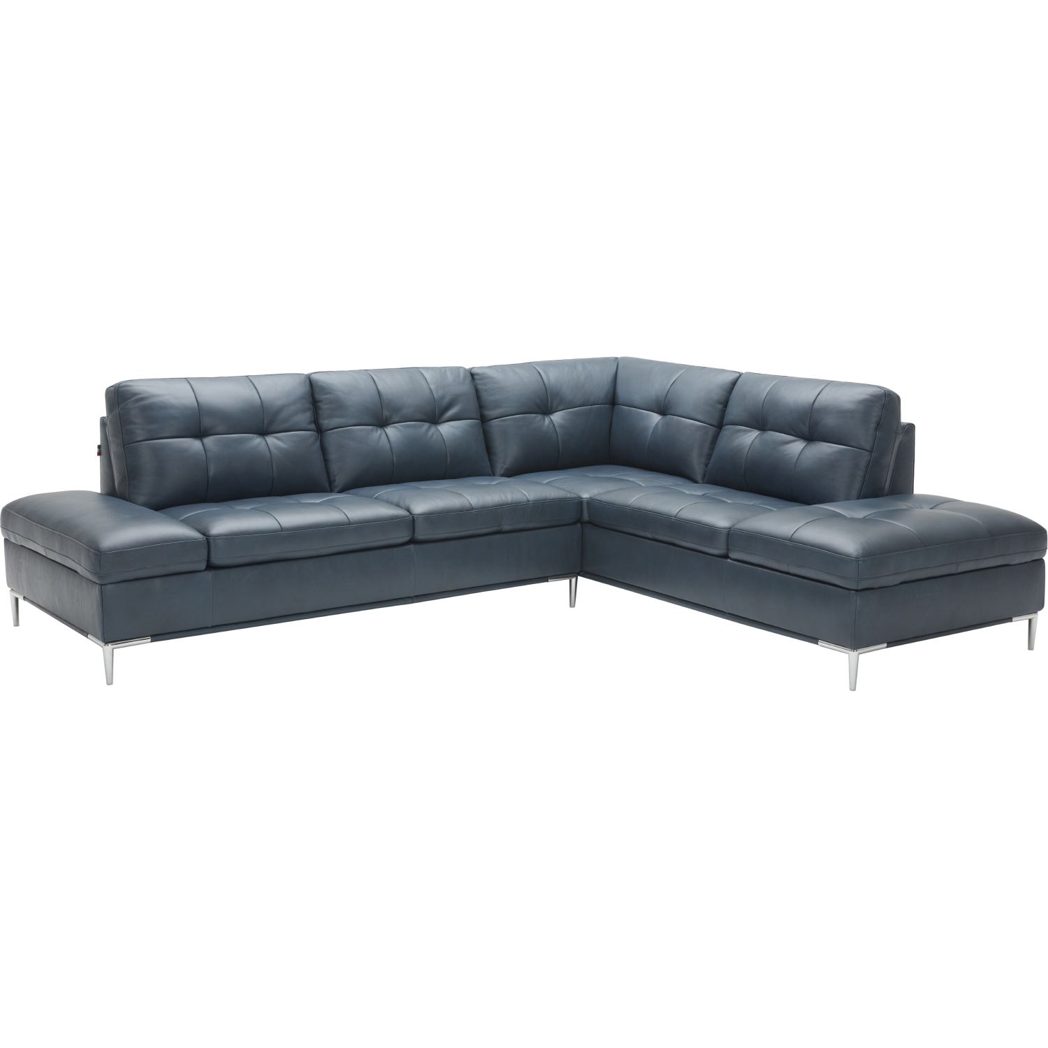 J M Furniture 18995 Rhfc Leonardo Sectional Sofa W Right Hand Facing Chaise In Navy Blue Leather