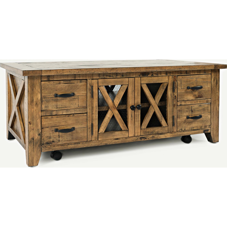 jofran 1800 5 telluride coffee table w casters in distressed pine