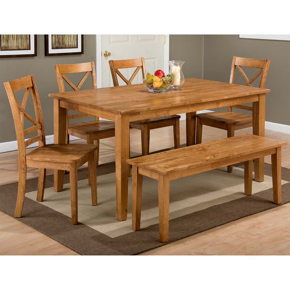 Jofran 352 60352 14KD4x352 806KD Simplicity Honey 6 Piece Dining Set Table 4 X Chairs Amp Bench