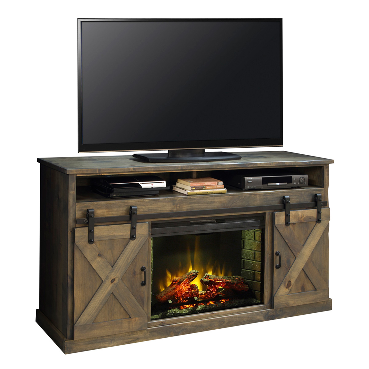 Legends Furniture FH5120 Farmhouse 66 Fireplace Stand Console In Distressed Barnwood W Sliding