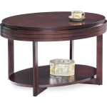 Leick 10109 Ch Oval Small Coffee Table In Chocolate Cherry Finish W Diamond Match Top