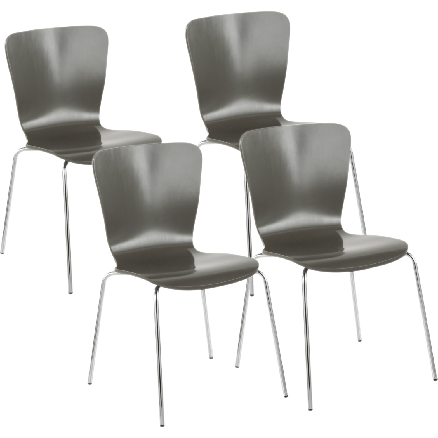 Bentwood Stackable Dining Chair In Grey Wood Chrome Set Of 4 By Lumisource