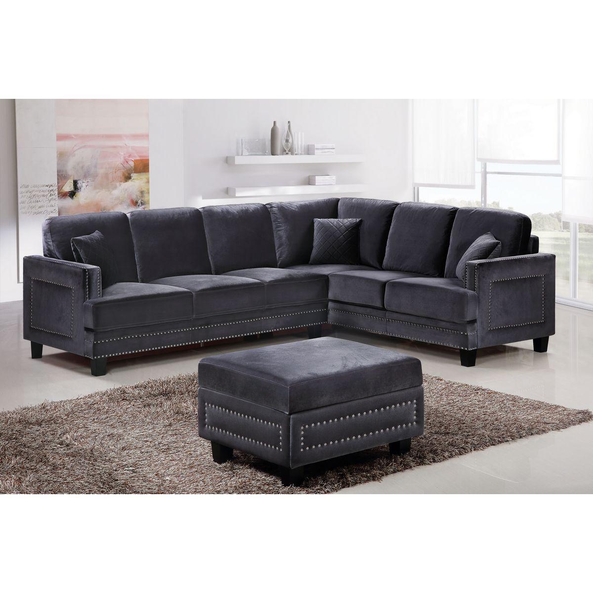 meridian 655gry sectional ferrara sectional sofa in gray velvet w nailhead trim