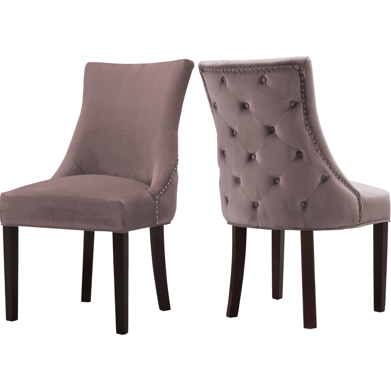 Hannah Dining Chair In Pink Velvet W Back Tufting Set Of 2 By Meridian Furniture