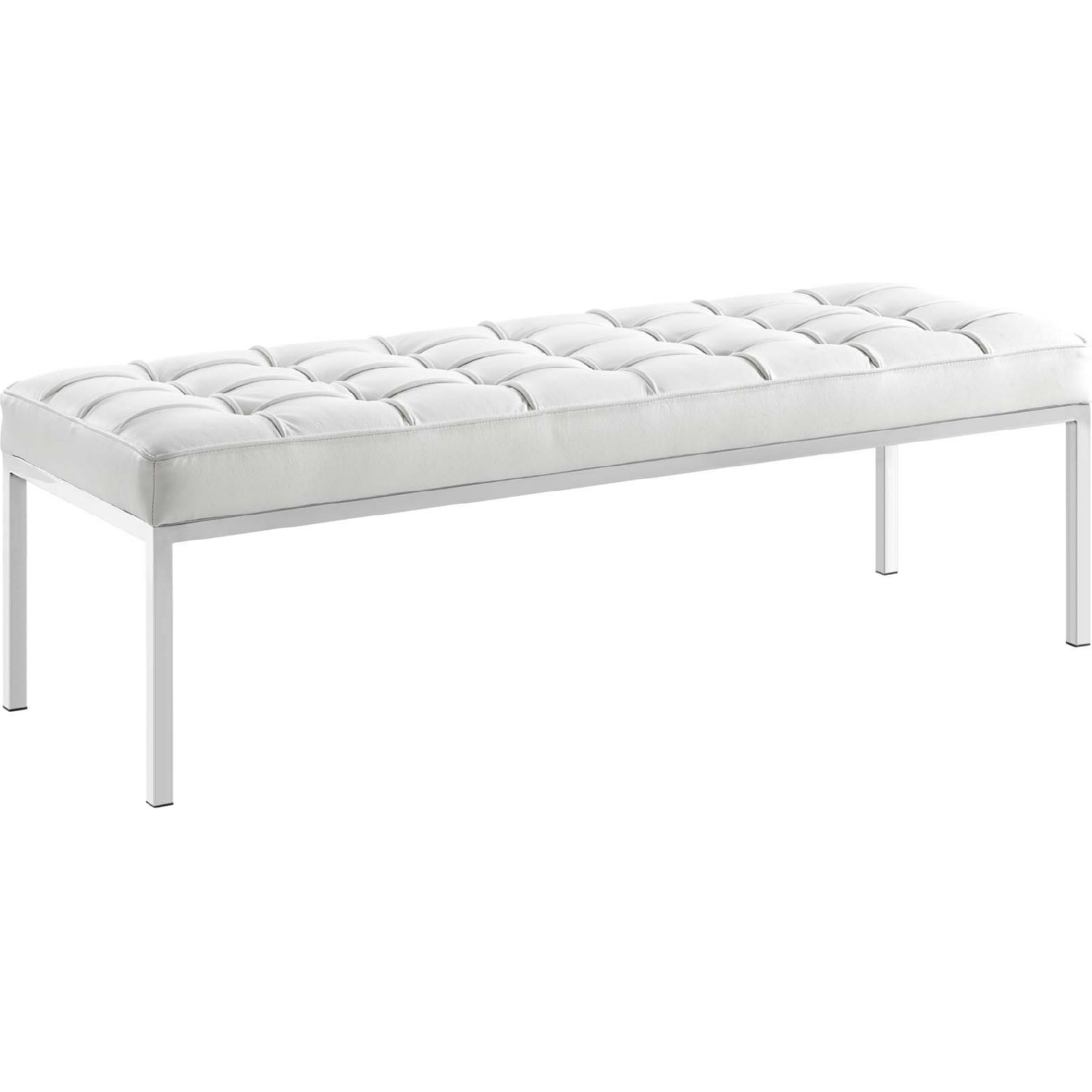 Loft Bench In Tufted White Leather On Stainless Steel By Modway