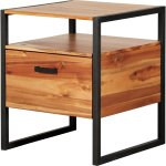 Zachary Mosaic Tiled Night Stand Side Table In Acacia Black Steel By New Pacific Direct