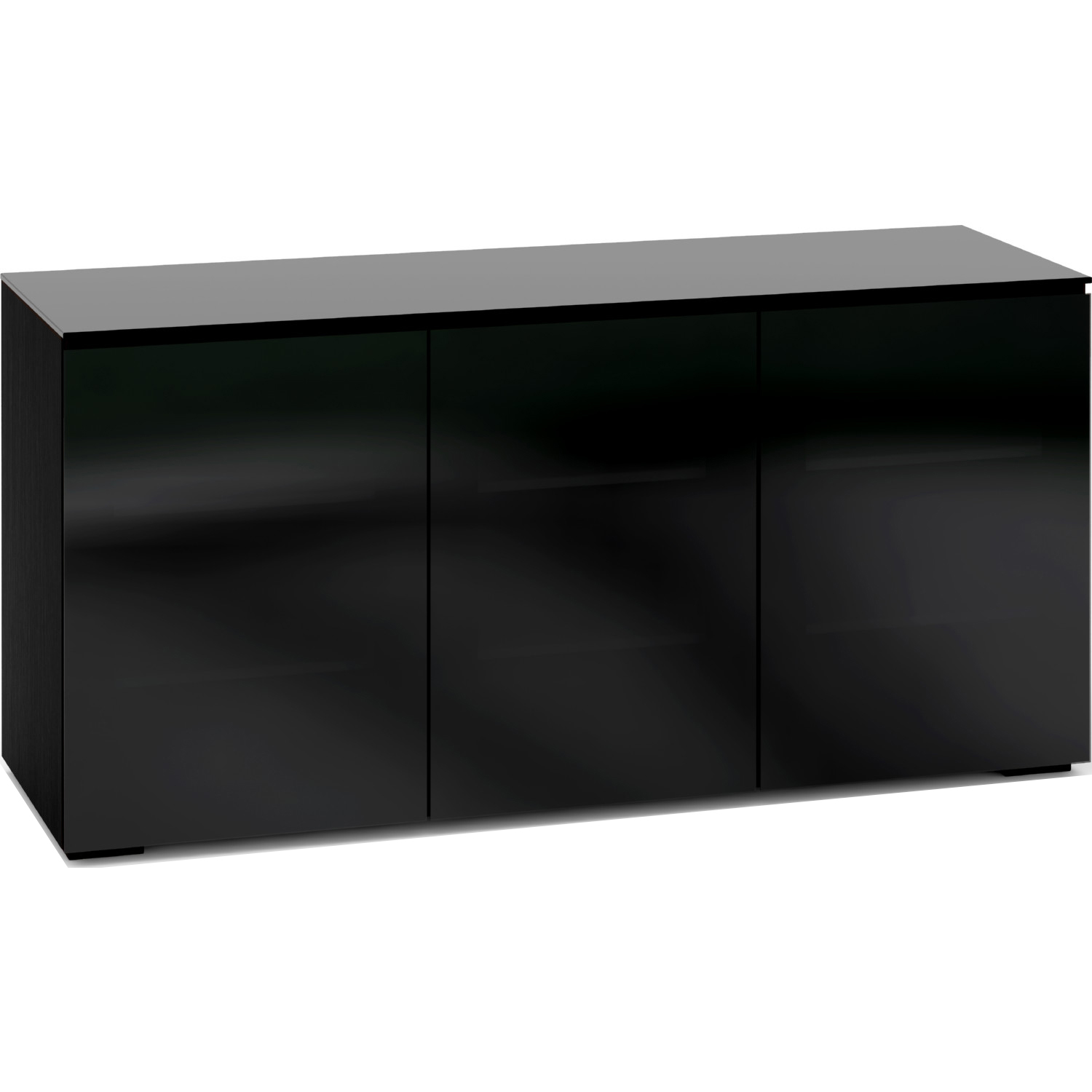 Salamander Designs C Os337 Bg Oslo 337 65 Extra Tall Tv Stand Cabinet In Black Oak W Smoked Black Glass Doors Top