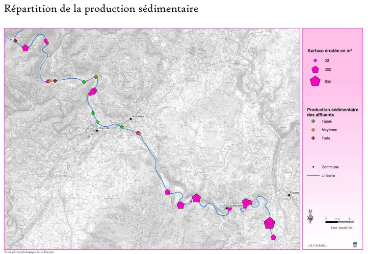 BEAUME - Hydromorphologie : cartographie de la répartition de la production sédimentaire