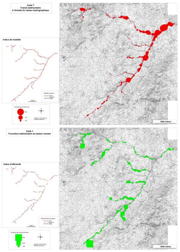 Cartographies du transit sédimentaire et de la fourniture sédimentaire du bassin versant