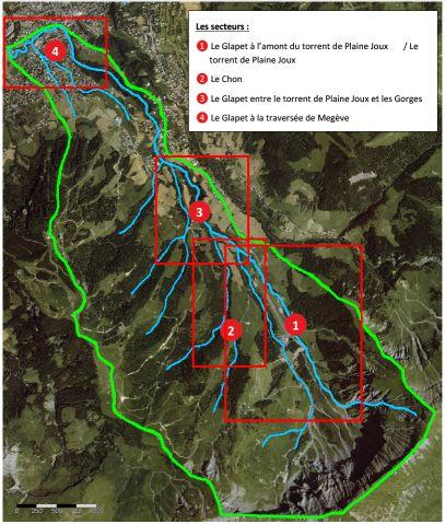 GLAPET - Plan de gestion : cartographie de la sectorisation du bassin versant