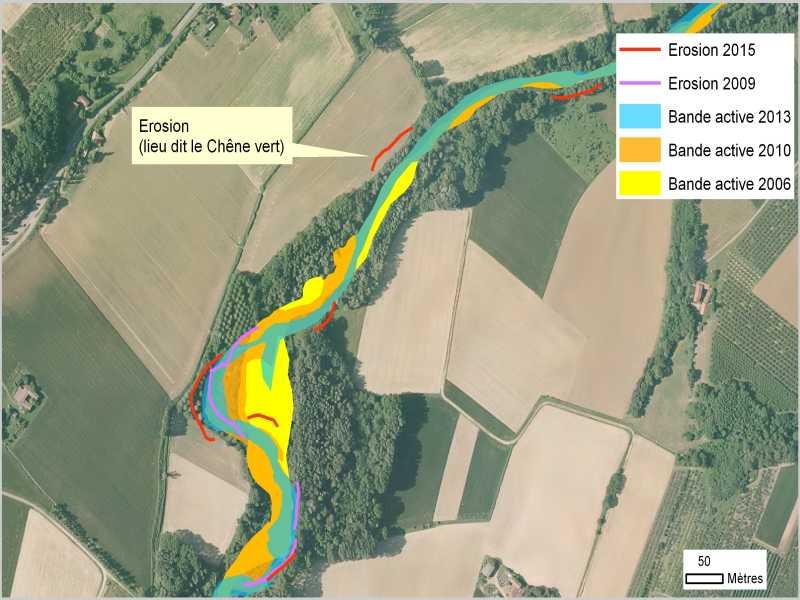 HERBASSE - Suivi post-crue : cartographie de la comparaison des bandes actives entre 2008 et 2013