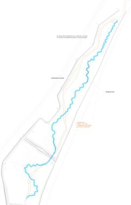 Plan de masse du projet de réméandrement du Lange fait sous Autocad