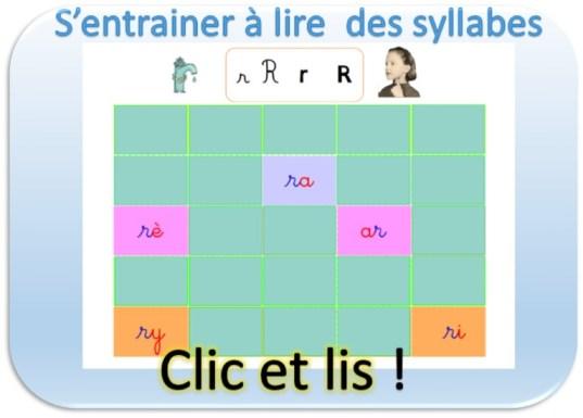 S'entrainer à lire des syllabes en imprégnation syllabique et TBI