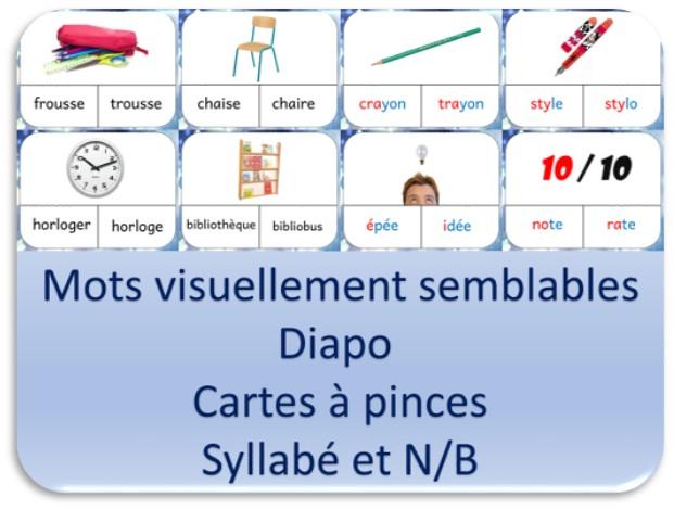 Diapo et exercices de lecture de mots visuellement semblables