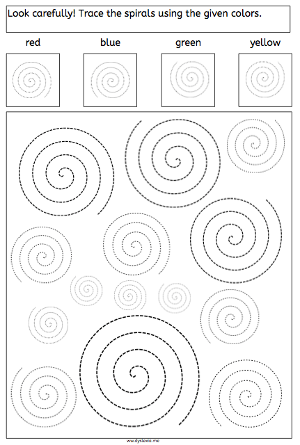 spirals, tracing, dyslexia, dyscalculia, parents, children, fine motory skills, worksheet