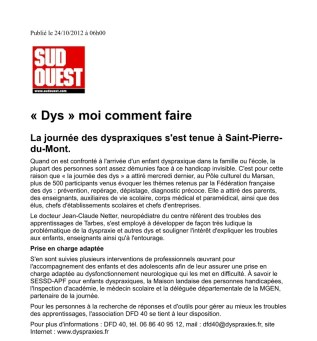 Article journal Sud Ouest 24-10-2012