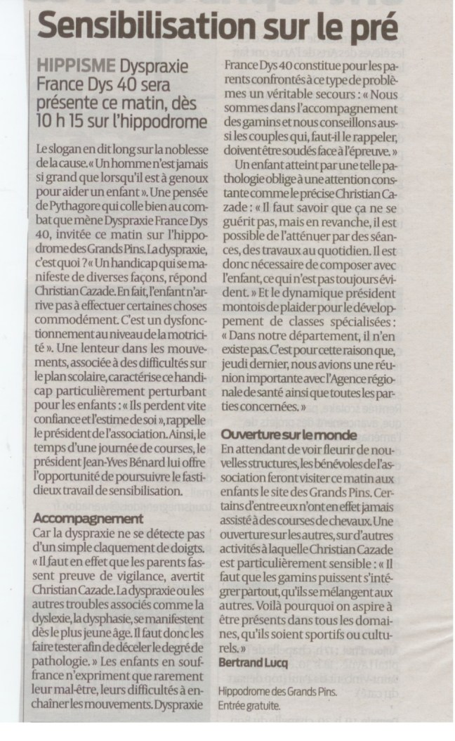 Article Sud-Ouest 05-10-2013