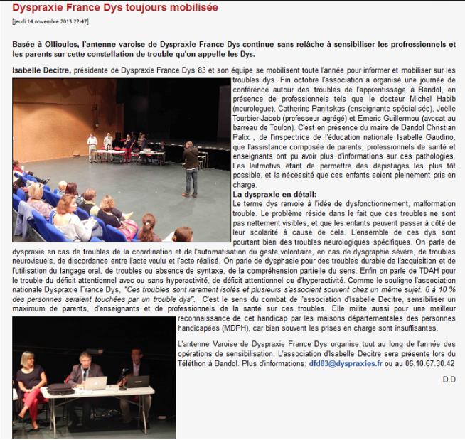 Article dans Ouest-Var du b14/11/2013