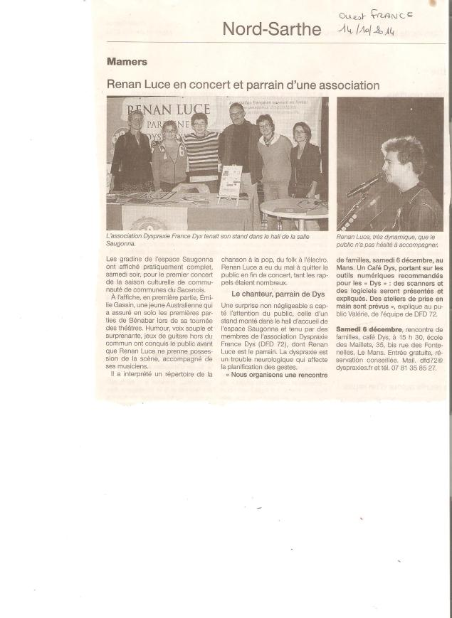Article Ouest France 14/10/2014