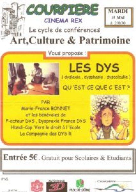 Conférence Les Dys au Cinéma Rex à Courpière Dans le Puy de Dôme