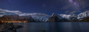 snow covered lake with townlights