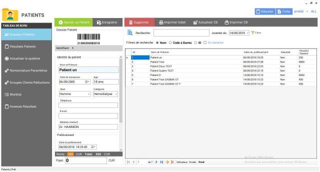 Capture d'écran du Logiciel Prolab LIS