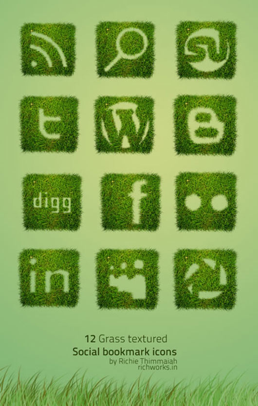 Grass-Textured-Social-Bookmarking-Icon-Set