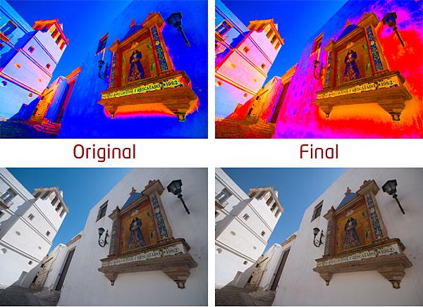 Antes y después del ajuste de equilibrio del color