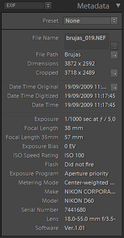 Datos EXIF en Lightroom