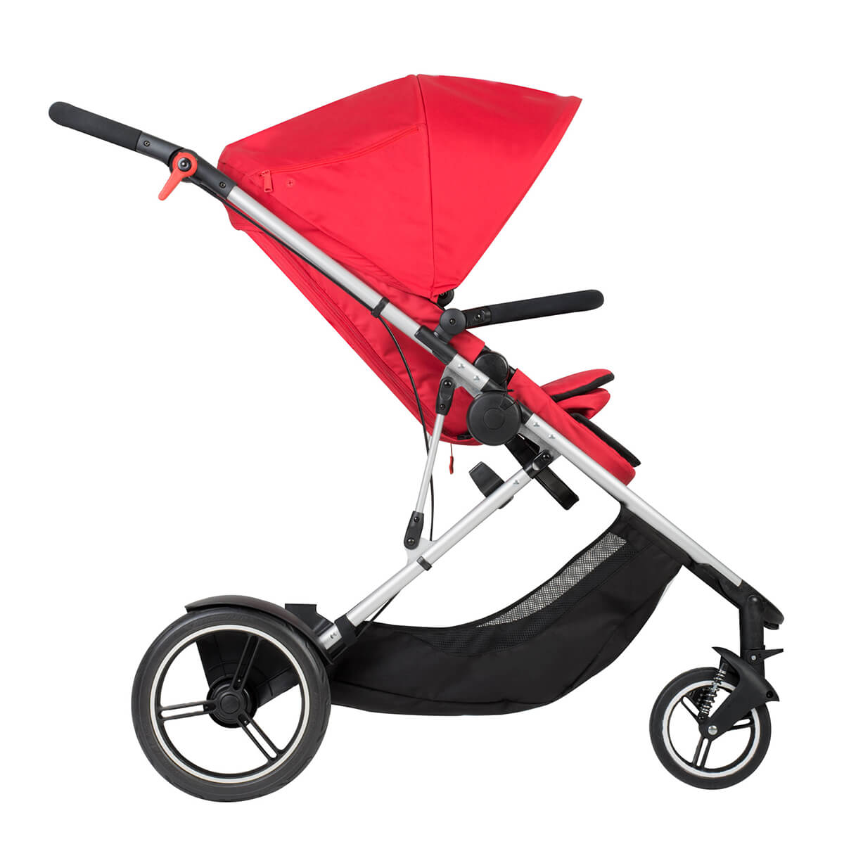 poussette voyager double convertible de phil and teds rouge