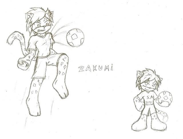 Zakumi - blank colouring page