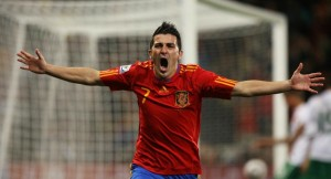 David Villa of Spain celebrates scoring the opening goal. -best playerjpeg
