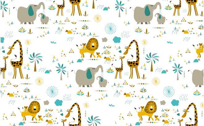 papier peint animaux de la savane chambre bebe