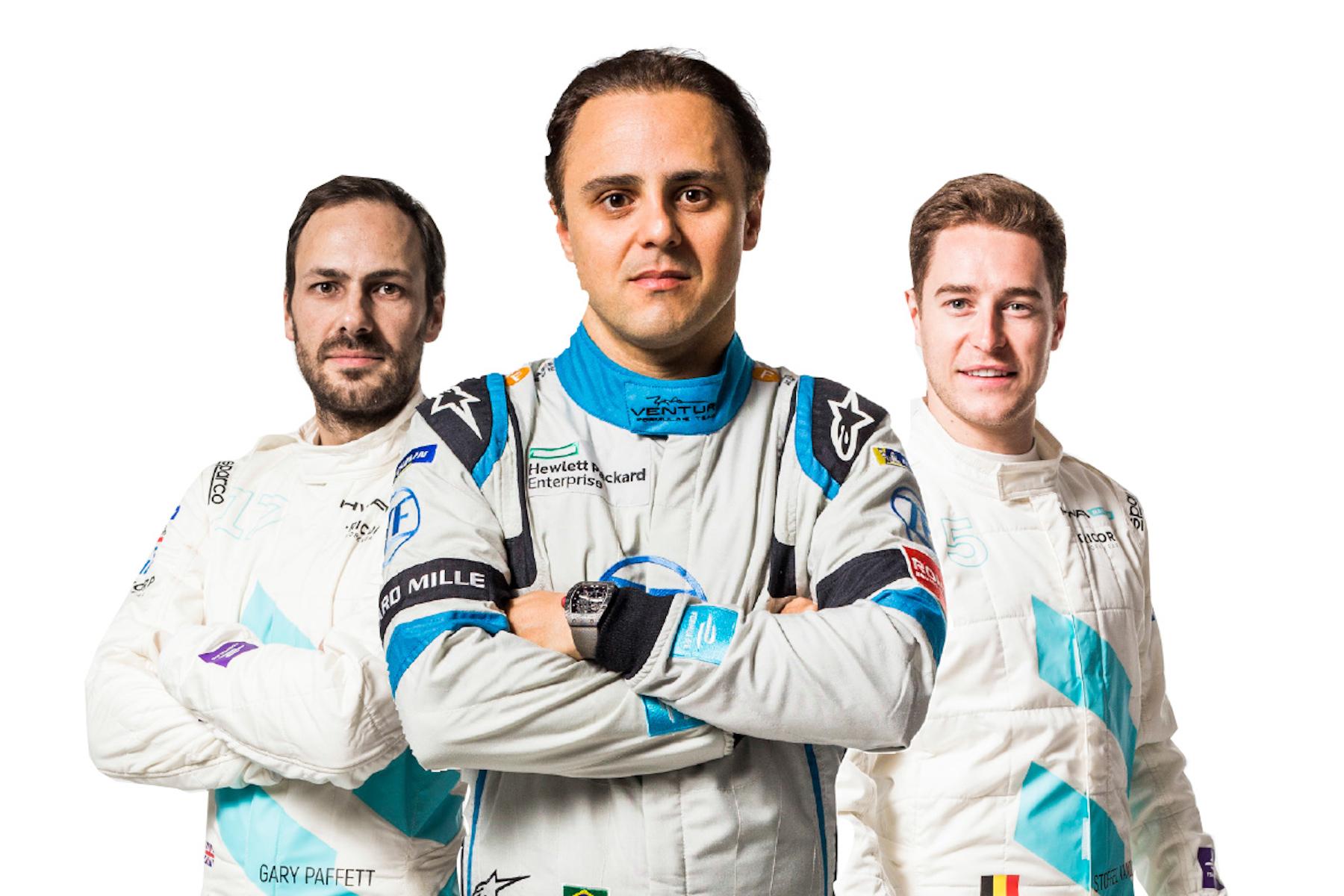 Partecipano per la prima volta: Gary Paffett, Felipe Massa e StoffelVandoorne (da sinistra a destra). (Formula E)
