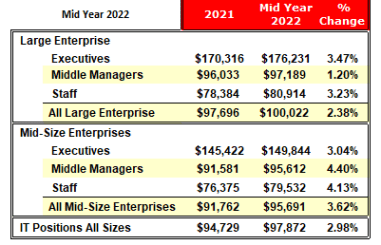 Historic versus current salaries IT Professionals
