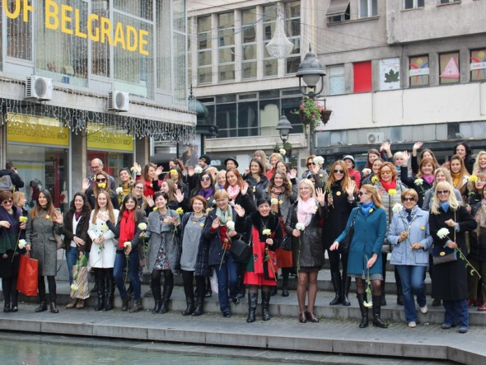 Members of Equal Opportunities in Mentoring Walk organized by European movement in Serbia, OSCE Mission to Serbia, Erste bank and Embassy of the United States, 5th of November 2016 in Belgrade