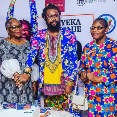 Onyeka Nwelue at book launch with Onyeka Onwenu and Oby Ezekwesili e-NIGERIA!